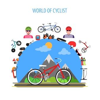 Concepto de ciclismo plano