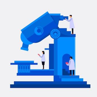 Concepto de ciencia de diseño plano con microscopio y científicos