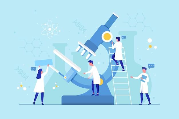 Concepto de ciencia de diseño plano con microscopio