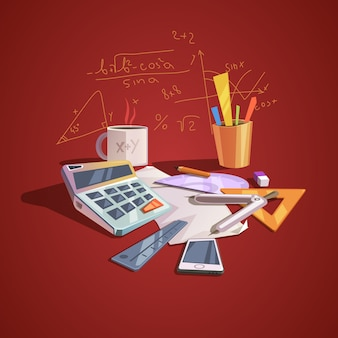 Concepto de ciencia matemática con artículos de lección de escuela en estilo retro de dibujos animados