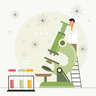 Concepto de ciencia con microscopio y átomos