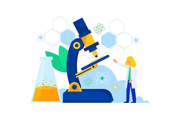 Concepto de ciencia con microscopio y científico ilustración