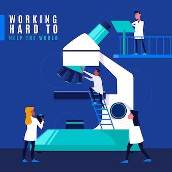 Concepto de ciencia con microscopio y científicos.