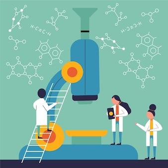Concepto de ciencia con microscopio y moléculas.
