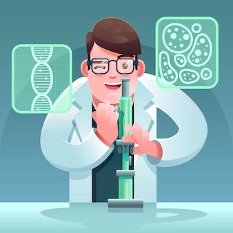 Concepto de ciencia con microscopio