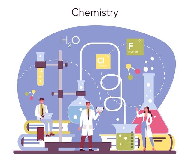 Concepto de ciencia química. experimento científico en el laboratorio. equipo científico, investigación química.