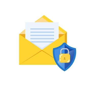 Concepto de cifrado de seguridad de correo electrónico, protección de correo electrónico. icono de sobre y candado.