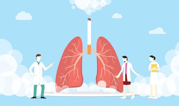 Concepto de cigarrillo de humo de pulmón