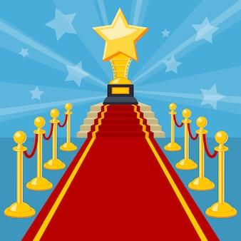 Concepto de cine con alfombra roja y premio.