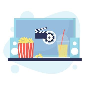 Concepto de cine en casa ver películas en casa noche de cine con palomitas de maíz y bebida estilo plano