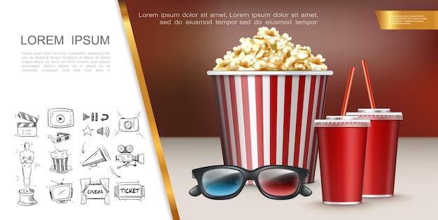 Concepto de cine colorido con vasos 3d realistas, vasos de soda, cubo rayado de palomitas de maíz e iconos de cine dibujados a mano