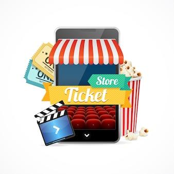 Concepto de cine on-line, compra de entradas. ilustración vectorial