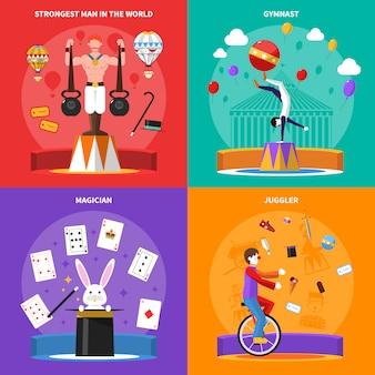 Concepto de circo conjunto de iconos