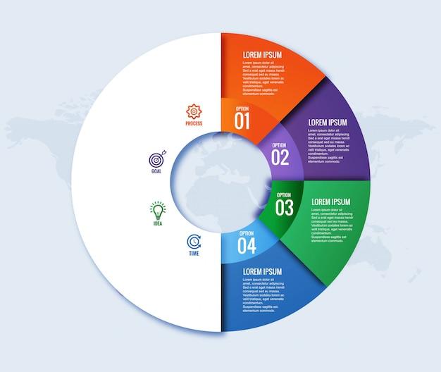 Concepto circular moderno de infografía con cuatro pasos