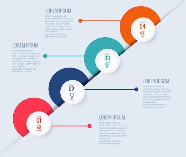 Concepto de círculo creativo de plantilla de diseño de infografía con cuatro pasos