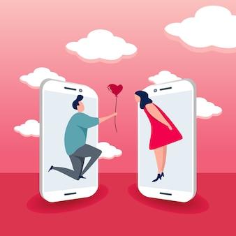 Concepto de citas en línea para teléfonos inteligentes