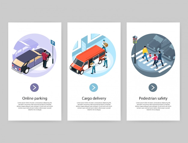 Concepto de ciudad 3 pancartas isométricas verticales con estacionamiento en línea, entrega de carga, paso de cebra peatonal seguro