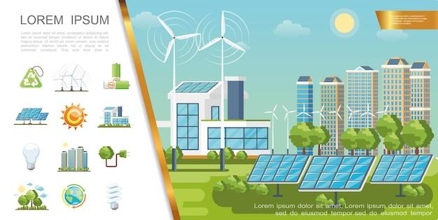 Concepto de ciudad ecológica plana con paneles solares, turbinas eólicas, edificios modernos, reciclaje, letrero, bombillas, árboles verdes, baterías, globo, enchufe solar