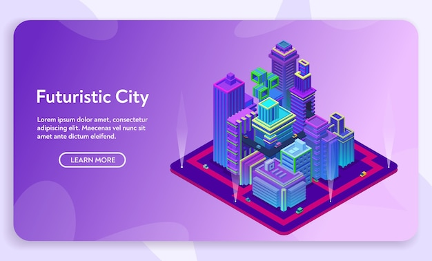 Concepto de ciudad futurista. vista isométrica de edificios modernos de neón ultravioleta, centro de negocios con rascacielos. infraestructura vial urbana.