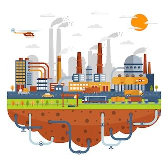 Concepto de ciudad industrial con plantas químicas