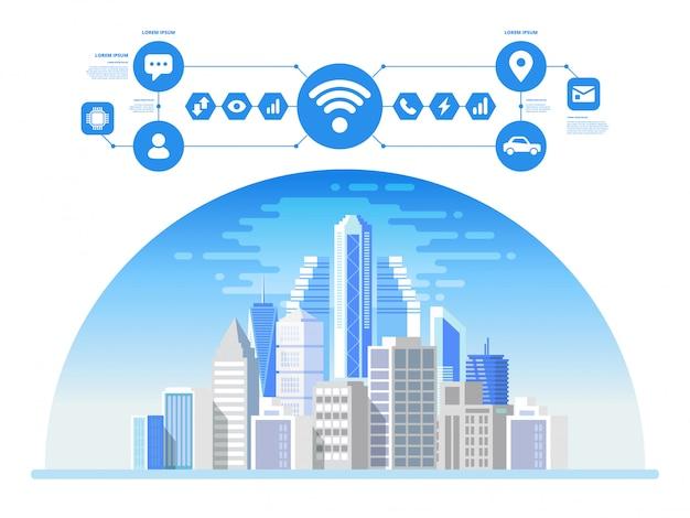 Concepto de ciudad inteligente con diferentes iconos.