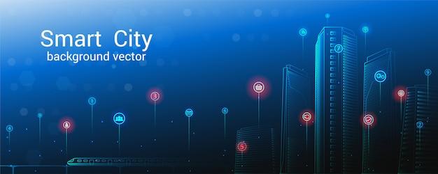 Concepto de ciudad inteligente. fondo de cielo. ciudad futura o concepto de ciudad inteligente.