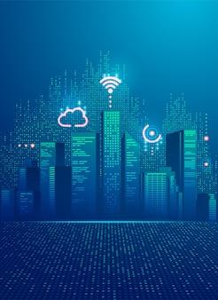 Concepto de ciudad inteligente, gráfico de edificios con elemento de tecnología digital