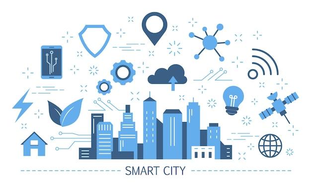 Concepto de ciudad inteligente. idea de internet global