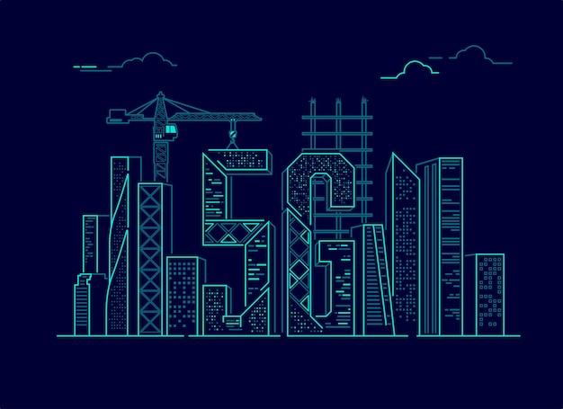 Concepto de ciudad inteligente o iot, gráfico de 5g combinado con edificio