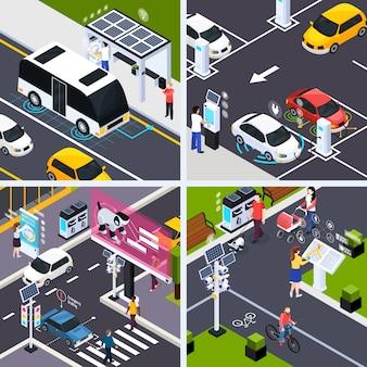 Concepto de ciudad inteligente con vehículos de transporte, ilustración vectorial isométrica aislada