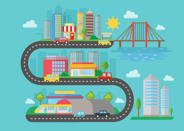 Concepto de ciudad moderna urbana paisaje