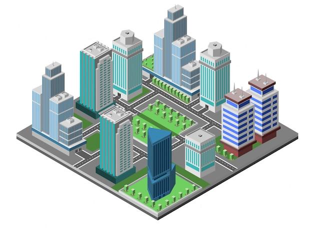 Concepto de la ciudad de rascacielos