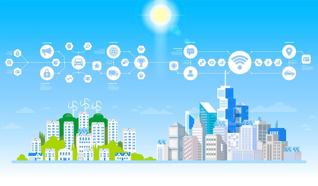 Concepto de ciudad y vida suburbana. paisaje urbano con grandes edificios modernos y suburbio con casas particulares. calle, carretera con coches.