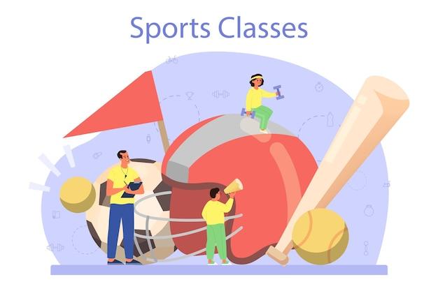Concepto de clase de educación física o deporte escolar