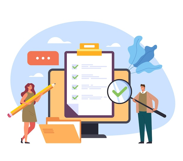 Concepto de clase de formación de prueba de retroalimentación de examen de marca de verificación de cuestionario web de internet en línea