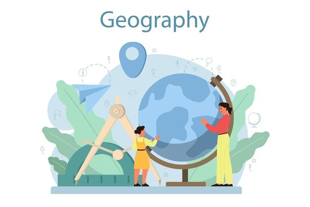 Concepto de clase de geografía. estudiar las tierras, los rasgos, los habitantes de la tierra.