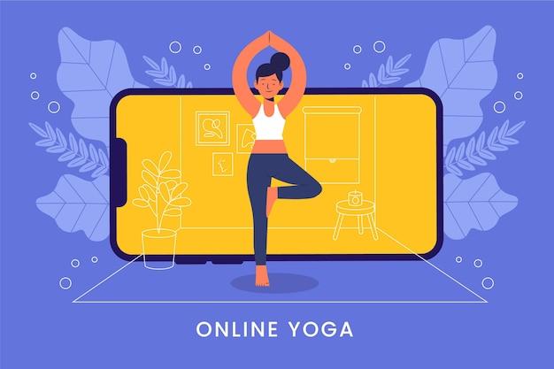 Concepto de clase de yoga en línea de diseño plano