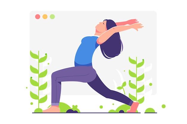 Concepto de clase de yoga en línea con mujer