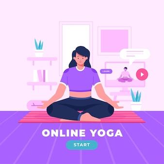 Concepto de clase de yoga en línea plana