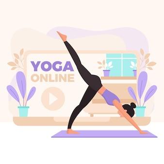 Concepto de clase de yoga en línea