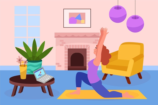 Concepto de clases de deporte en línea dibujado a mano plana ilustrado