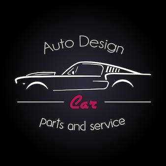 Concepto con el clásico estilo deportivo americano de coches silueta.