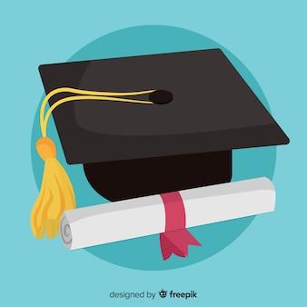 Concepto clásico de graduación con diseño plano