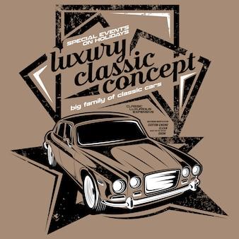 Concepto clásico de lujo, ilustraciones de coches clásicos.