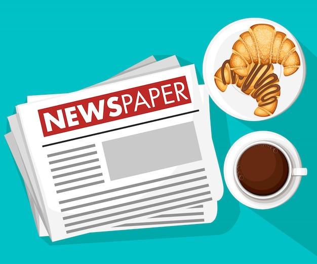 Concepto clásico de la mañana. imagen de noticias del periódico, café con croissants. icono de color. ilustración sobre fondo blanco. página del sitio web y aplicación móvil