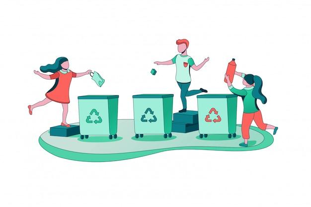 Concepto de clasificación de basura, niños tirando basura en el contenedor