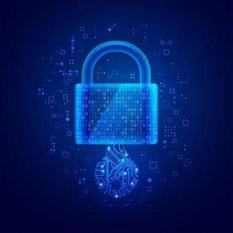 Concepto de clave privada en tecnología de seguridad cibernética, el gráfico de la almohadilla de bloqueo se combina con el código binario y la clave electrónica