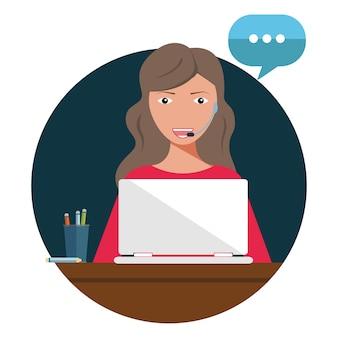 Concepto de cliente y operador, soporte técnico en línea 24-7 para página web.