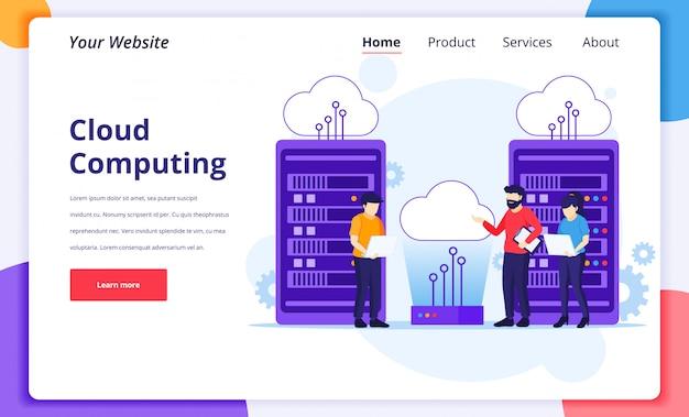 Concepto de cloud computing, personas que trabajan en computadoras portátiles y servidores, almacenamiento digital, centro de datos. plantilla de diseño de página de destino