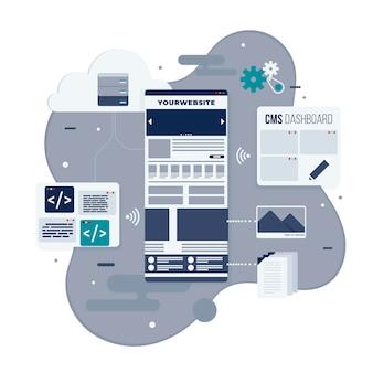Concepto cms ilustrado en diseño plano
